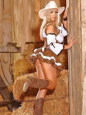Sexy Blonde Cowgirl Strips &...