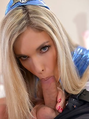 Shaved Pussy Stewardess Takes Double...